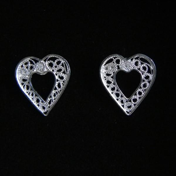 Boucles d'oreille coeur en argent 925